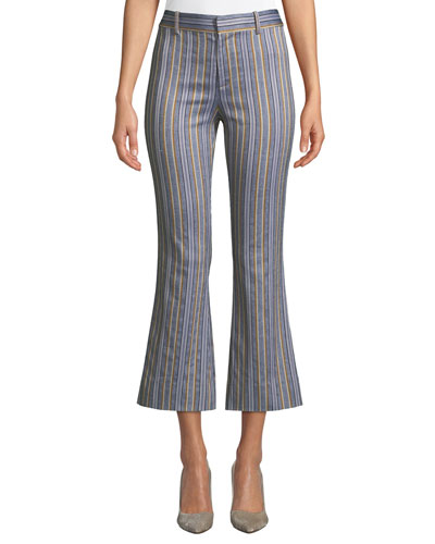 Cropped High-Rise Flare-Leg Trousers