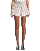 Derek Lam 10 Crosby Belted Striped Patch-Pocket Cotton