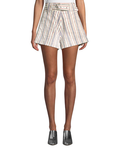Belted Striped Patch-Pocket Cotton Shorts