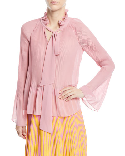 3755d8a9e8bb8 Pleated Long Sleeves Blouse