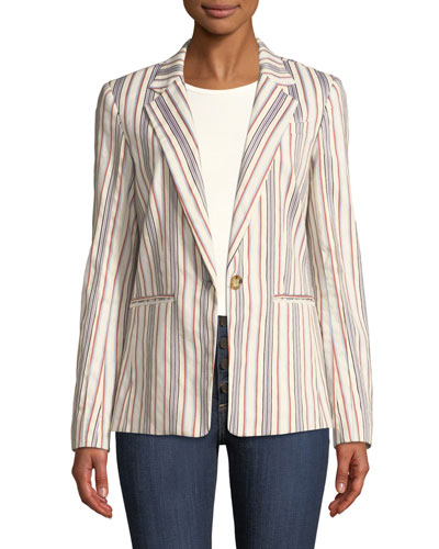 One-Button Striped Blazer Jacket