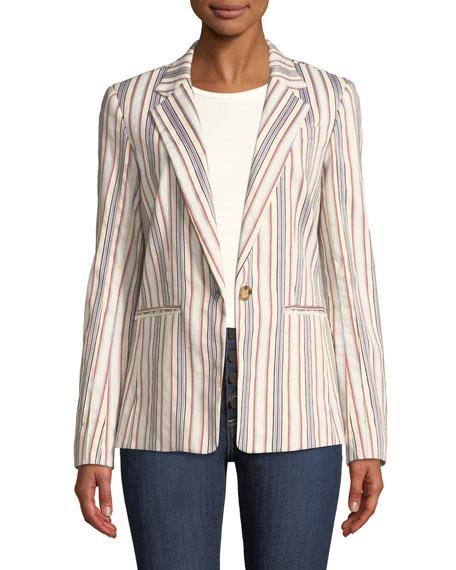 Derek Lam 10 Crosby One-Button Striped Blazer Jacket