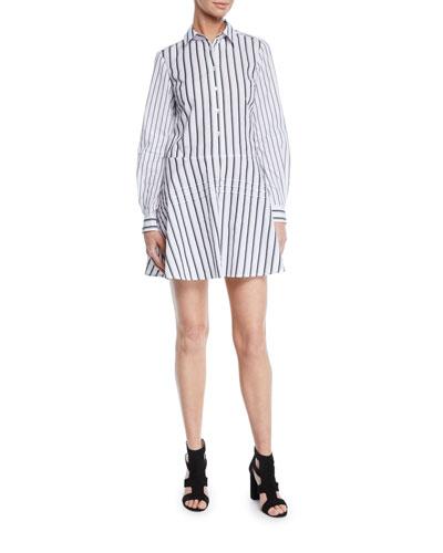 Long-Sleeve Striped Cotton Shirt Dress