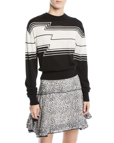 Zig-Stripe Wool/Silk Knit Pullover Sweater