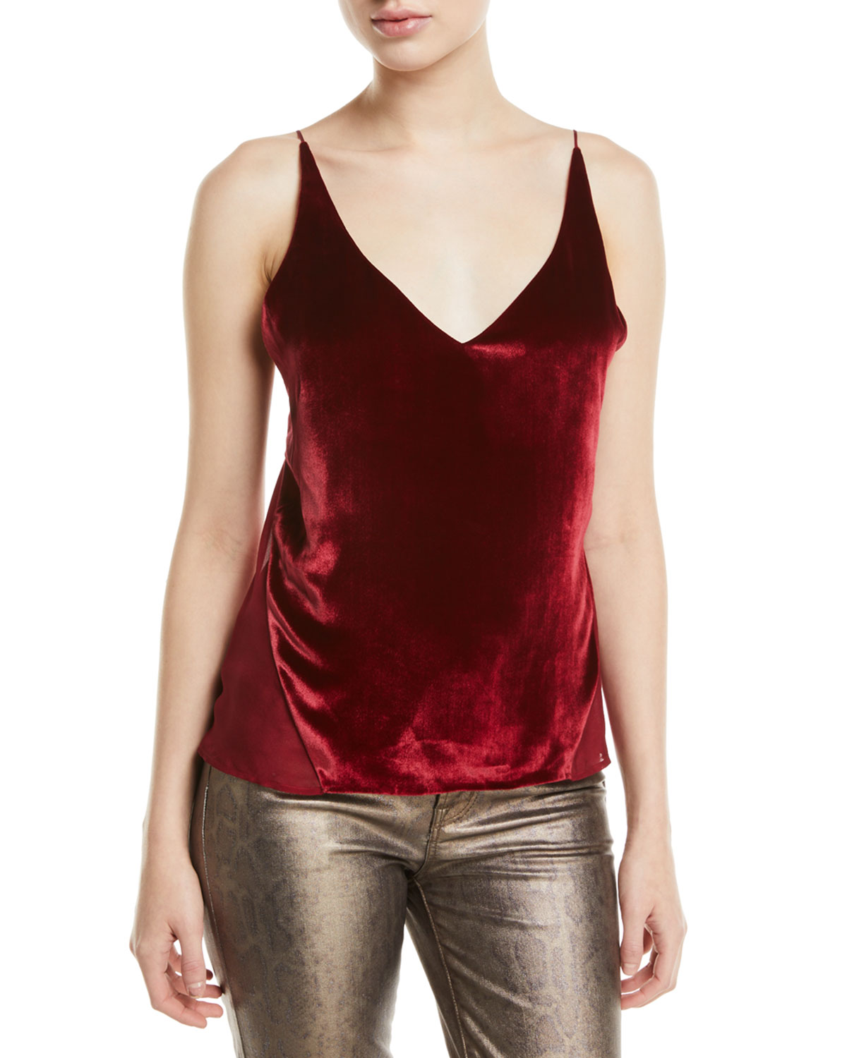 J Brand Lucy Velvet And Silk-Georgette Camisole In Venetian