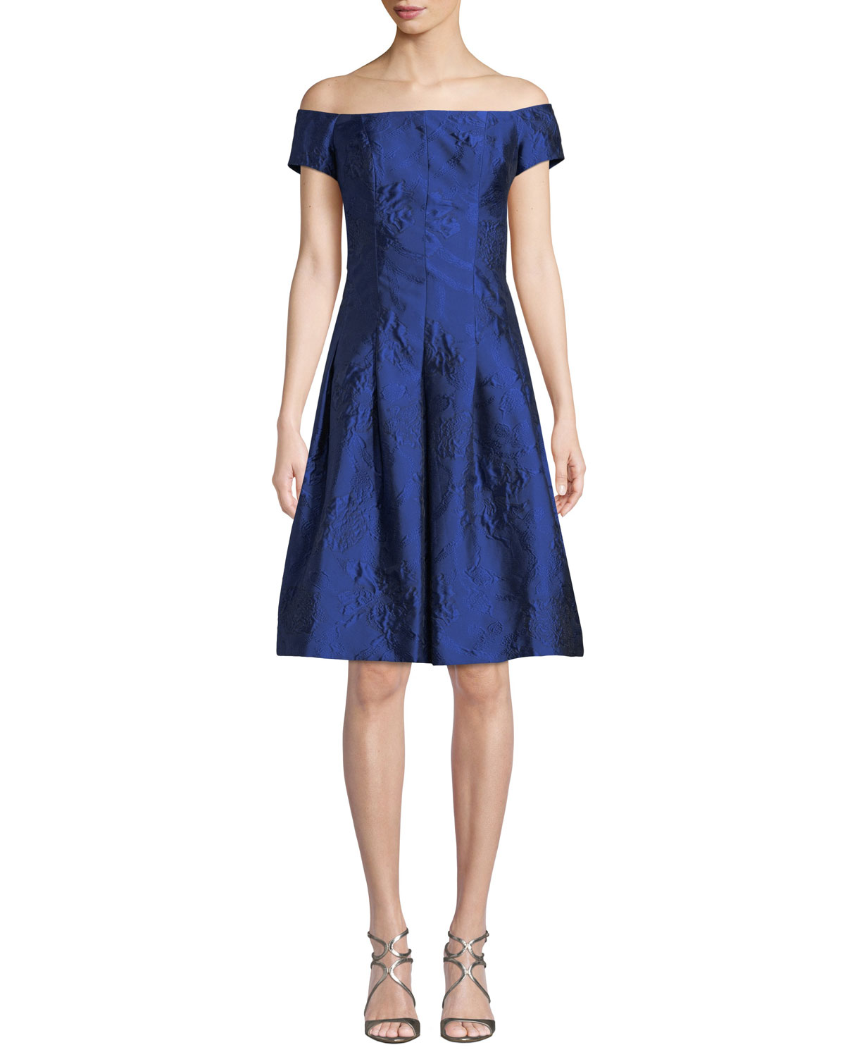 Off-the-Shoulder Cloque Jacquard Cocktail Dress