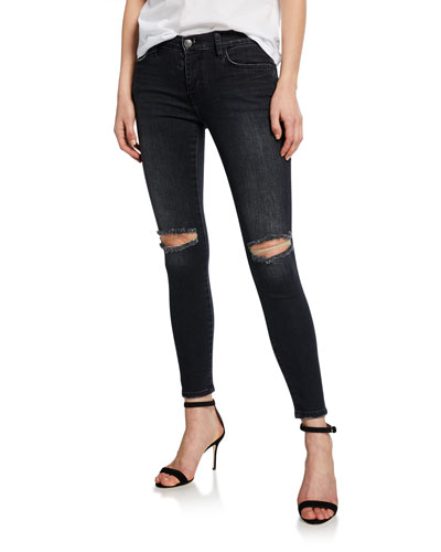 The Stiletto Distressed Ankle Skinny Jeans
