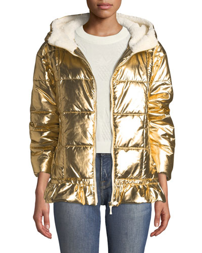 metallic puffer jacket with sherpa lining