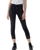 AGOLDE Sophie High-Rise Cropped Skinny Jeans with Frayed