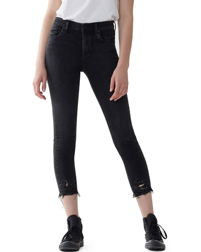 Sophie High-Rise Cropped Skinny Jeans with Frayed Hem