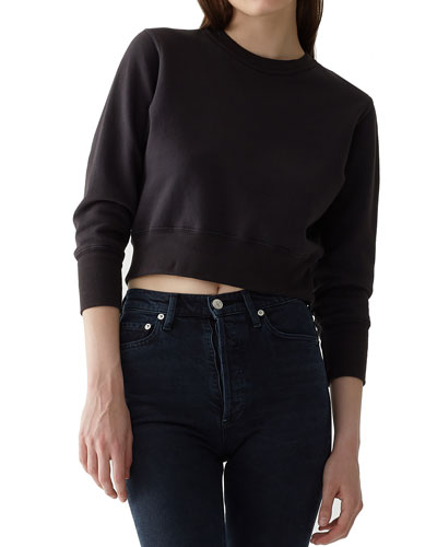 Shrunken Garment-Dyed Cropped Sweatshirt