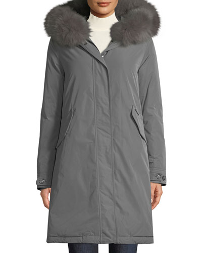 Keystone Down Parka Coat w/ Detachable Fur Collar