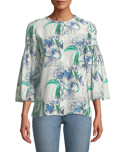 Becca Flower-Print Silk Blouse