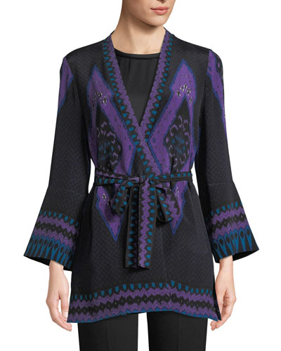 Maribel Silk Kimono Jacket w/ Sash Belt