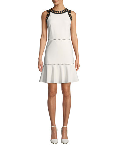 Sylvie Sleeveless Crewneck Dress w/ Contrast Trim
