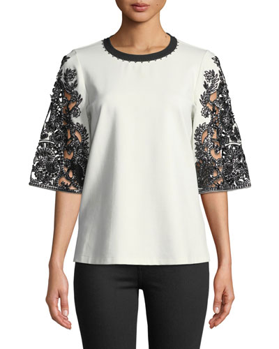 Dora Lace-Sleeve Blouse