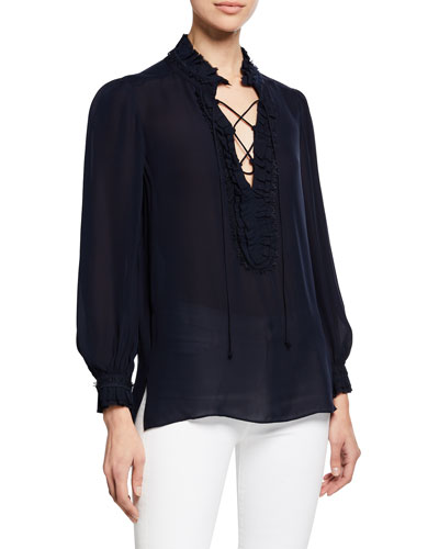 Marlie Lace-Up Long-Sleeve Blouse