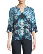 Kobi Halperin Nina 3/4-Sleeve V-Neck Patterned-Print Silk Blouse