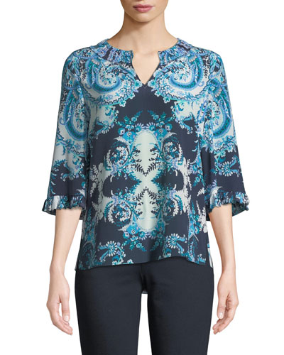 Nina 3/4-Sleeve V-Neck Patterned-Print Silk Blouse