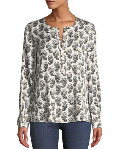 Madeline Split-Neck Long-Sleeve Paisley-Print Blouse