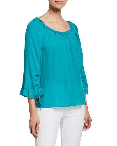 Kena Scoop-Neck 3/4-Sleeve Silk Blouse