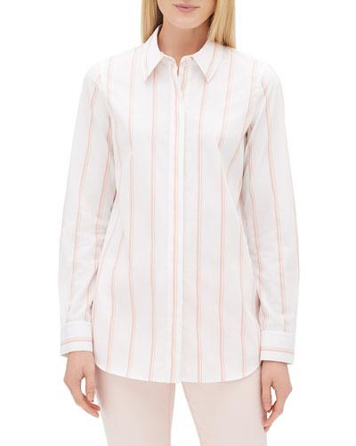 Velma Long-Sleeve Skylark Striped Button-Front Blouse