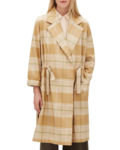 Vincenza Long-Sleeve Seaport Silk Jacket w/ Adjustable Drawstring