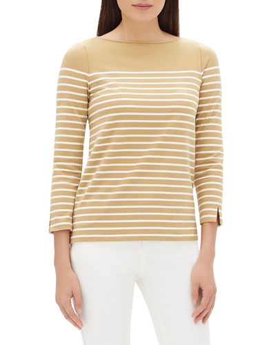 Wes Boat-Neck 3/4-Sleeve Breton Striped Top