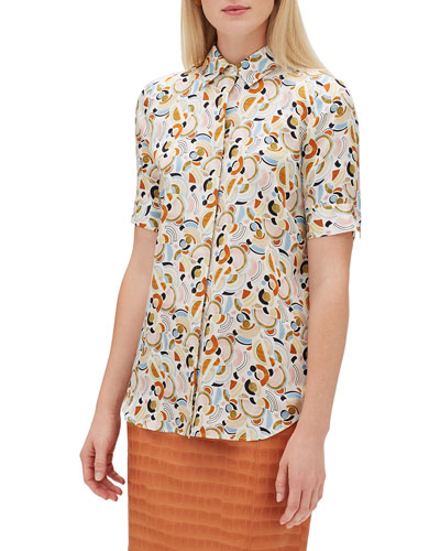 437f80e2adf16 Quick Look. Lafayette 148 New York · Scottie Short-Sleeve Lyrical Curves Printed  Silk Blouse