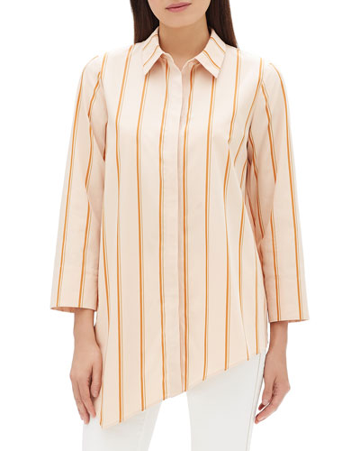 Rosamund Skylark Striped Cotton Blouse w/ Asymmetric Hem