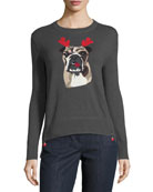 Lisa Todd Petite Holiday Bulldog Cashmere Sweater