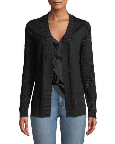 Leyla Sequin Embellished Merino-Wool Cardigan