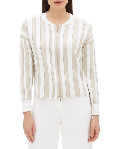 Zip-Front Striped Jacquard Bomber Jacket with Chain Detail