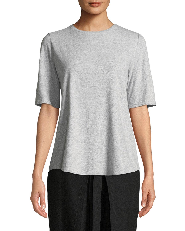 Eileen Fisher Plus Size Slubby Organic Cotton Tee Shirt
