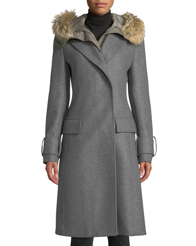 Firdale Long Wool Coat w/ Fur-Trim Hood