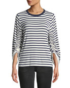 Kobi Halperin Larissa Breton-Stripe Cinch-Sleeve Top