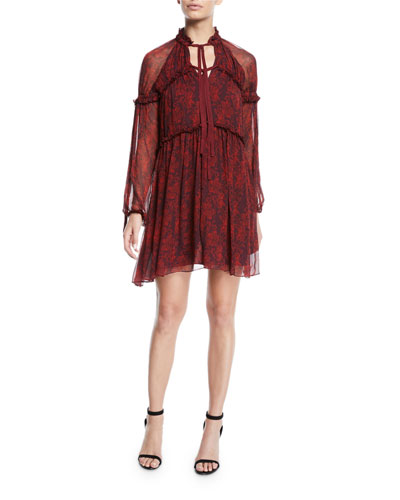 Gisele Floral Silk Ruffle Long-Sleeve Shift Dress