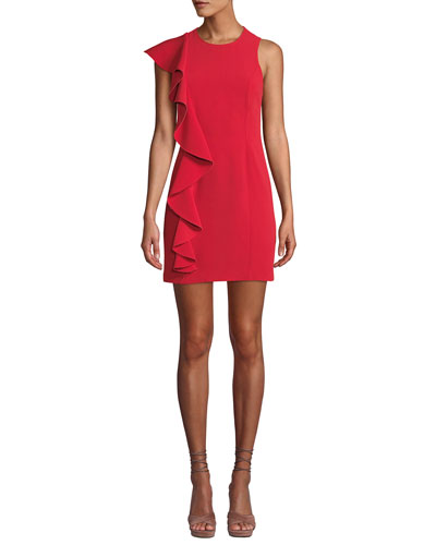 Kimberlin Sleeveless Crepe Ruffle Mini Dress