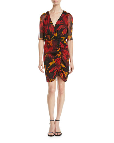 Kelda Floral Ruched Half-Sleeve Dress