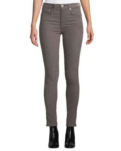 High-Waist Corduroy Skinny Ankle Jeans