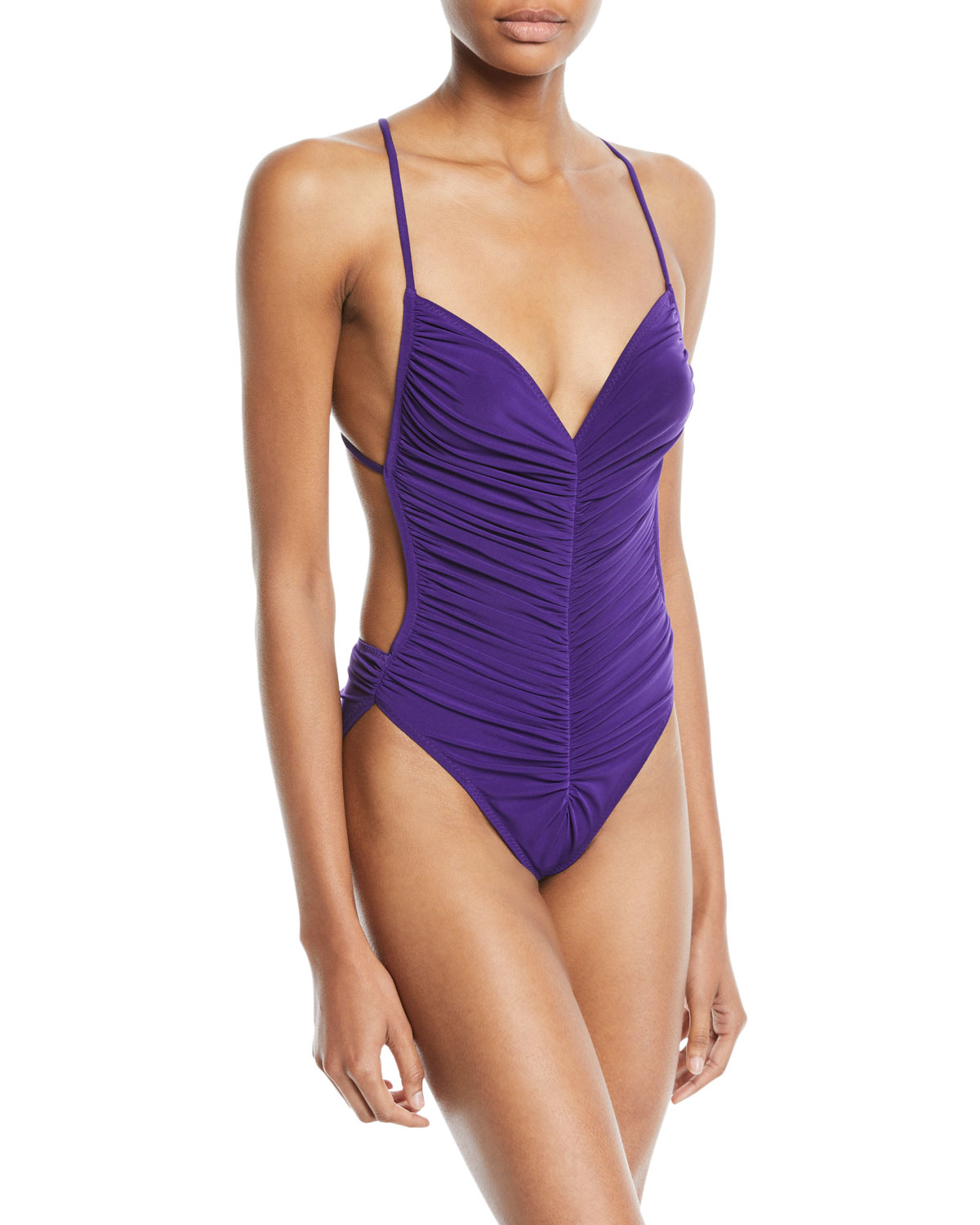 Butterfly Mio Ruched One-Piece Swimsuit, Purple