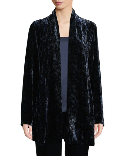 Long Printed Velvet Shawl-Collar Jacket