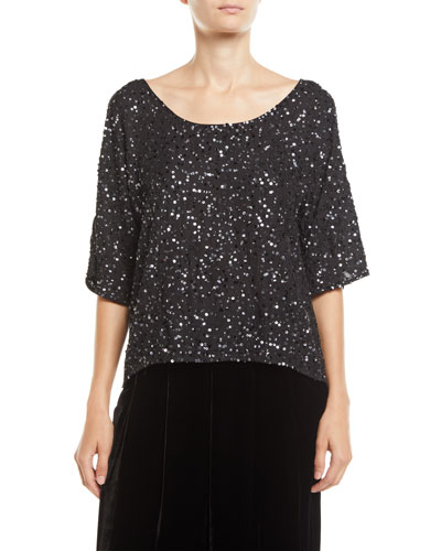 Half-Sleeve Encrusted Sparkle Top