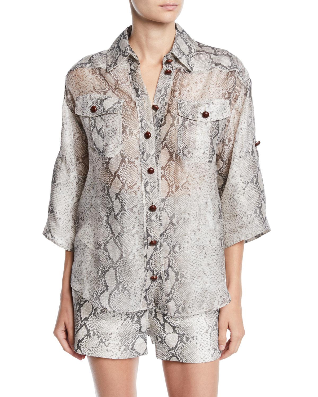 Corsage Safari Snake-Print Button-Front Shirt