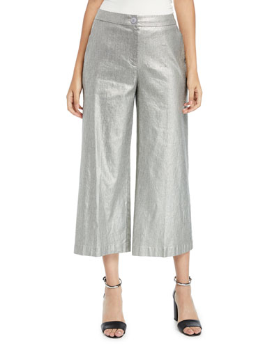 Metallic Wide-Leg Cropped Linen-Cotton Pants