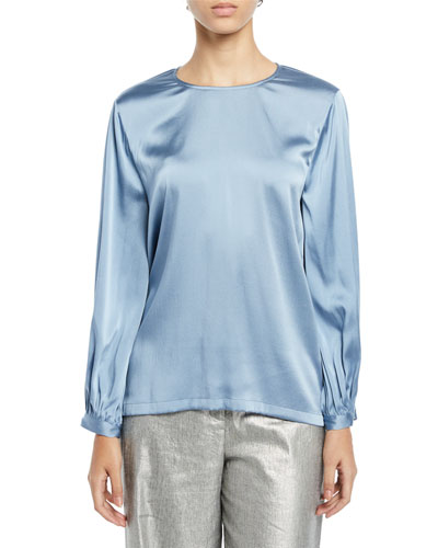 8b0e25caff5e72 Quick Look. Eileen Fisher · Plus Size Ruched-Cuff Silk Charmeuse Blouse