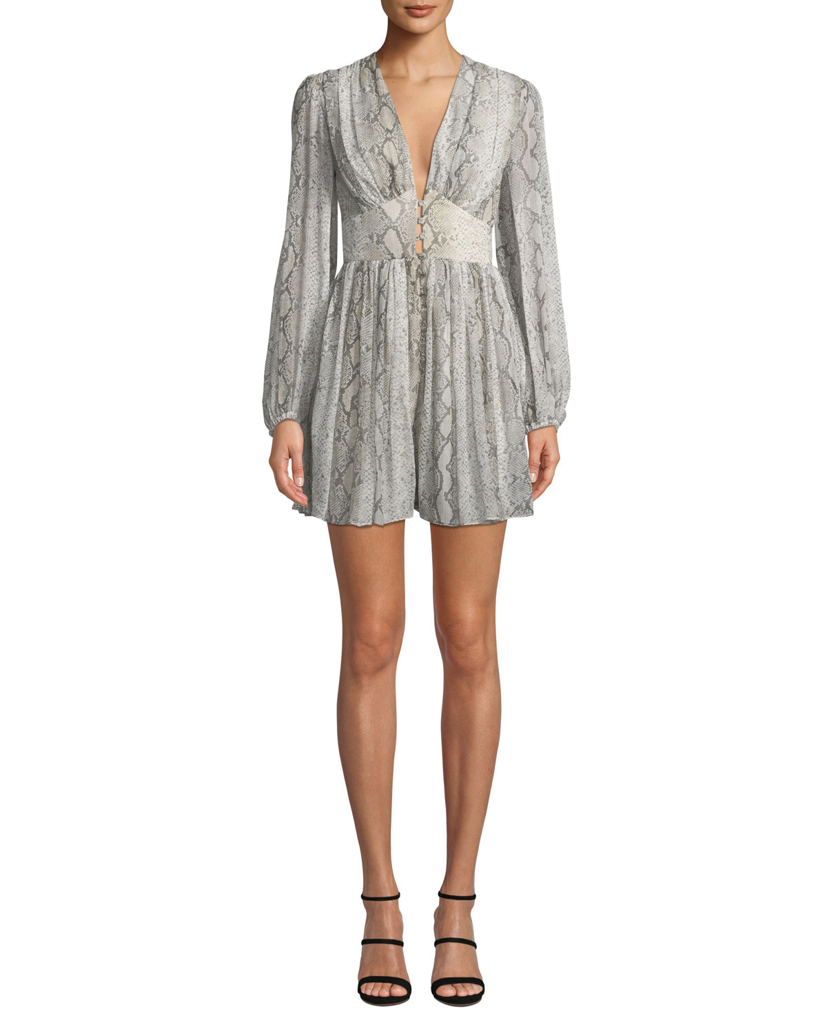 Corsage Snake-Print Long-Sleeve Fluted Romper