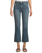 AMO Denim Bella Cropped Distressed Flare-Leg Jeans