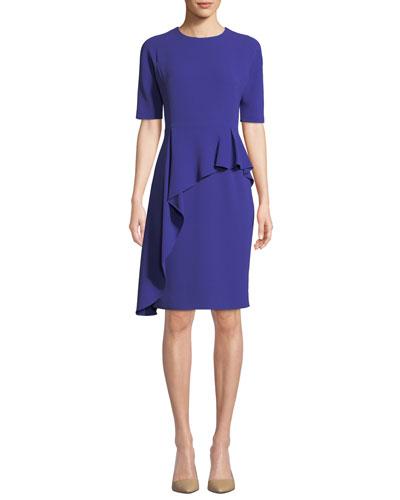 Short-Sleeve Asymmetric Peplum Cocktail Dress