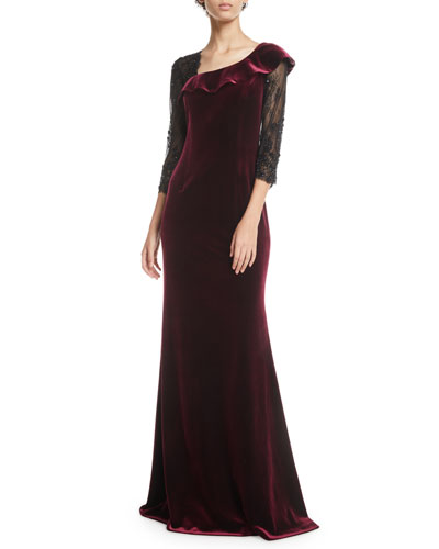 Asymmetric Velvet & Lace-Sleeve Gown